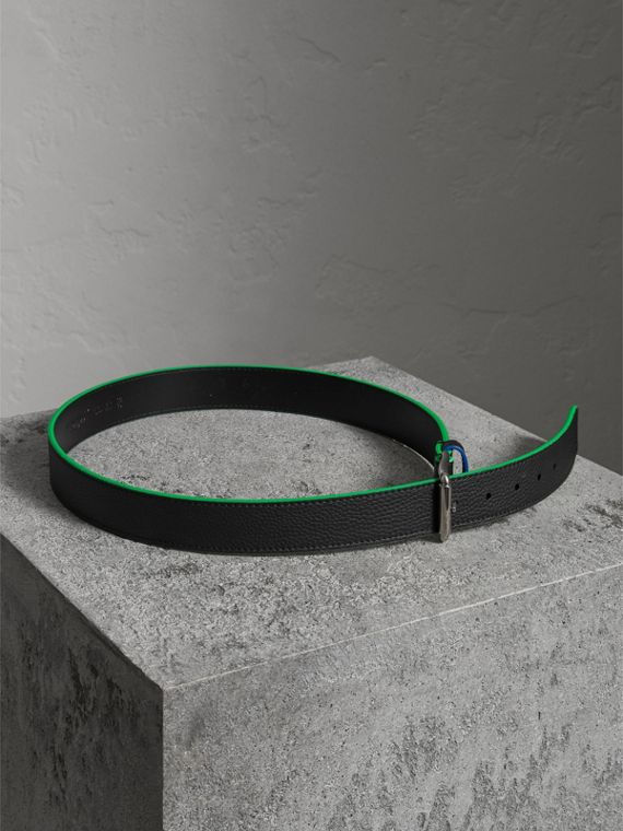 Contrast Detail Leather Belt in Black - Men | Burberry Canada - cell image 3