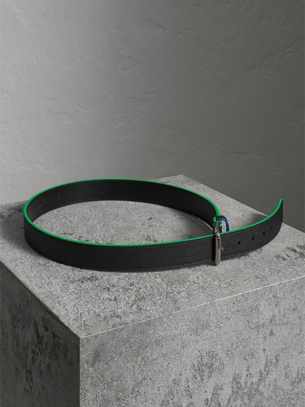 Contrast Detail Leather Belt in Black - Men | Burberry - cell image 3