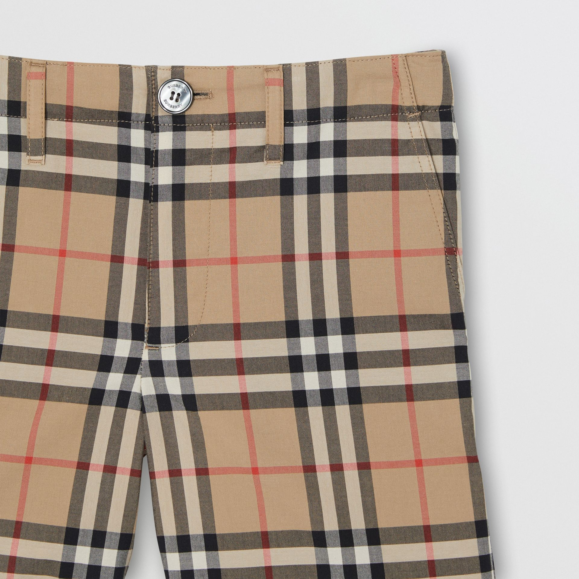Vintage Check Cotton Tailored Shorts in Archive Beige - Children | Burberry Australia - gallery image 4