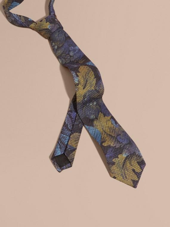現代剪裁織錦印花領帶 深靛青