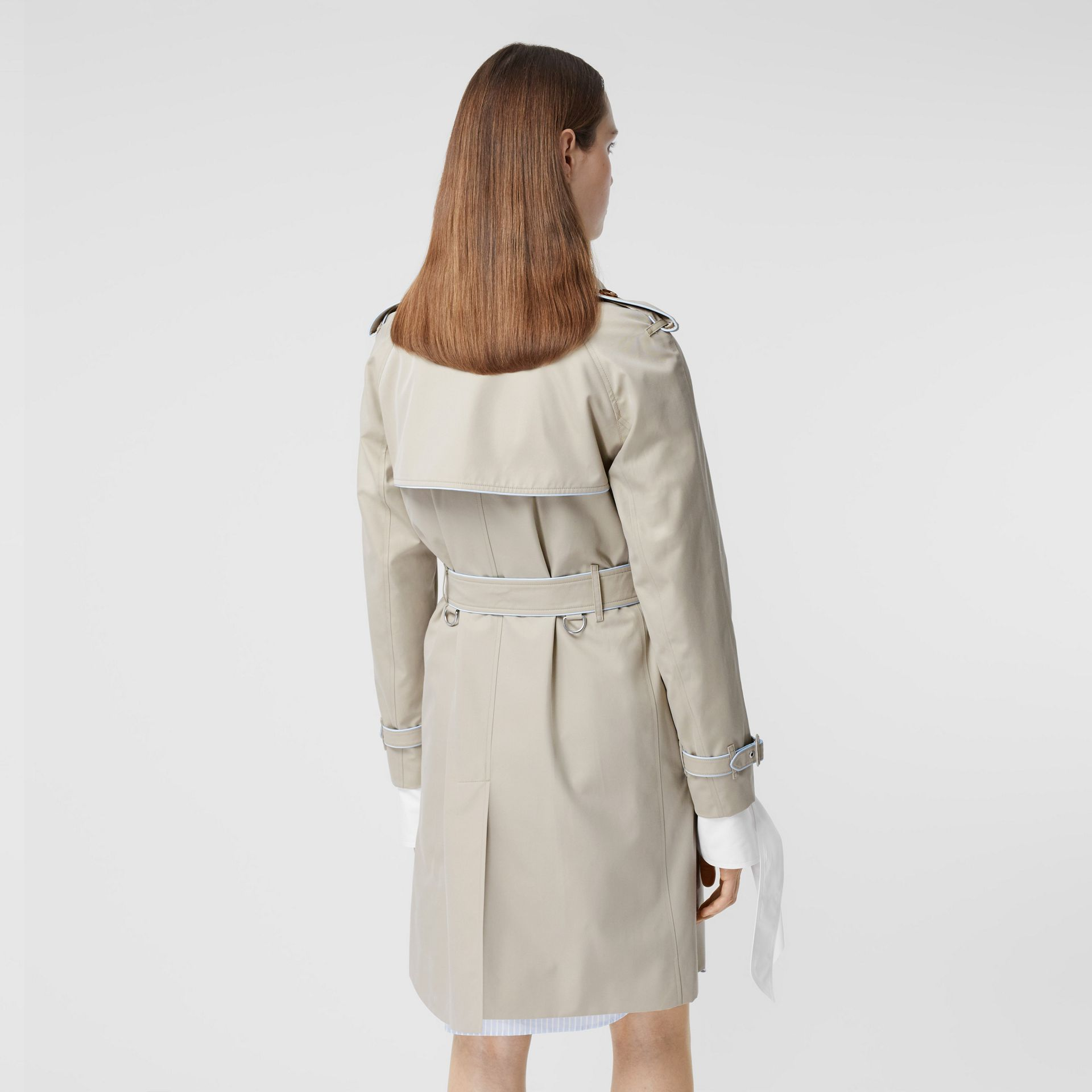 Piped Cotton Gabardine Trench Coat in Stone - Women | Burberry - gallery image 2