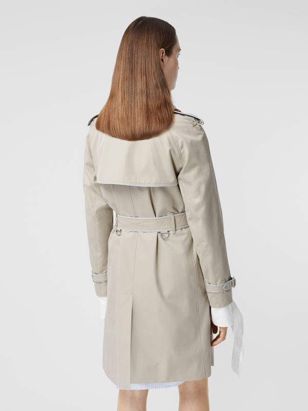 Piped Cotton Gabardine Trench Coat in Stone - Women | Burberry - cell image 2