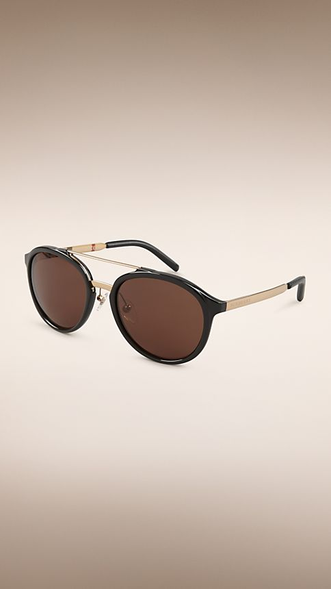 Black Trench Collection Round Frame Sunglasses - Image 1