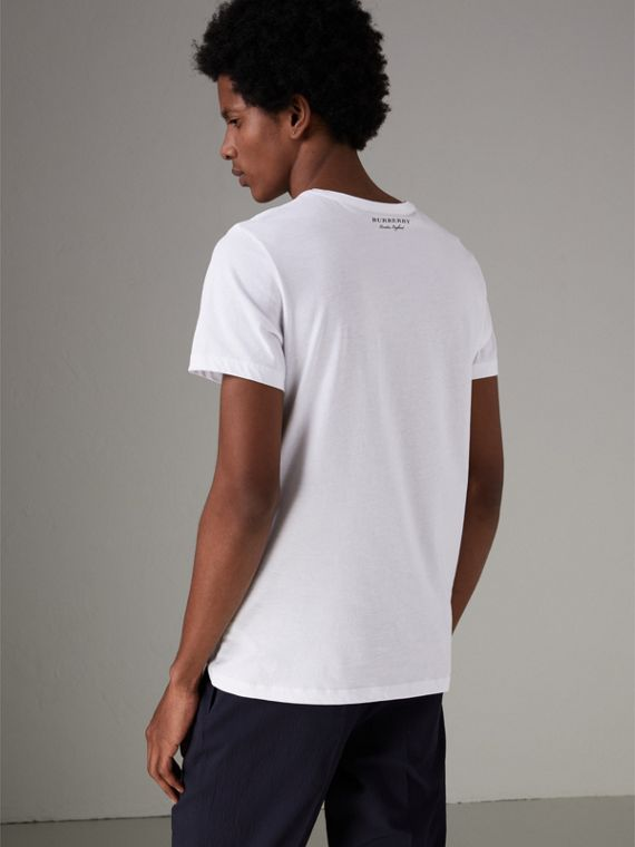Bust Print Mélange Cotton T-shirt in White - Men | Burberry United Kingdom - cell image 2