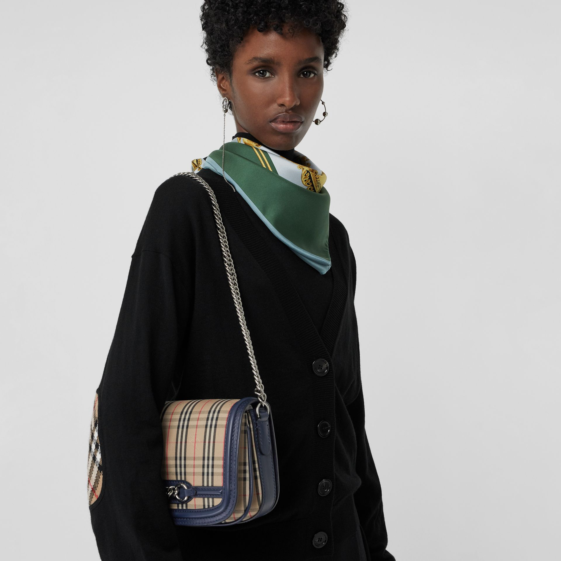 The 1983 Check Link Bag with Leather Trim in Ink Blue - Women | Burberry United Kingdom - gallery image 3