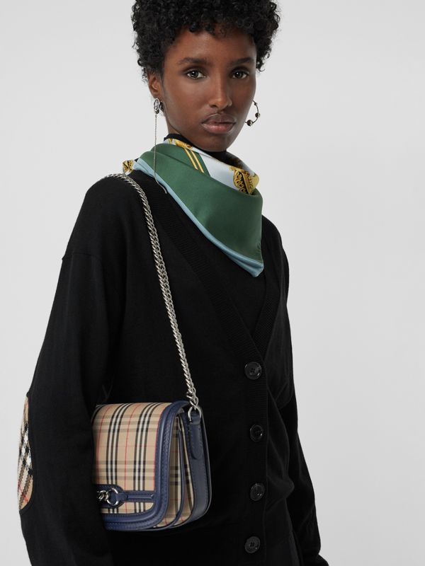 The 1983 Check Link Bag with Leather Trim in Ink Blue - Women | Burberry - cell image 3