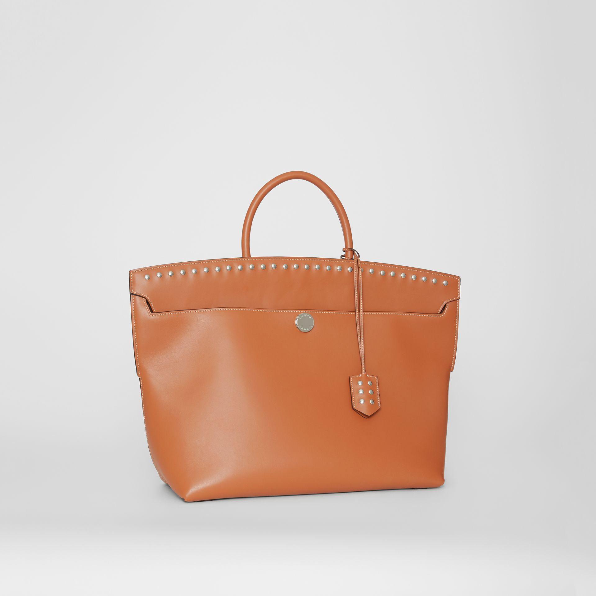 Studded Leather Society Top Handle Bag in Copper Brown - Women | Burberry - gallery image 6