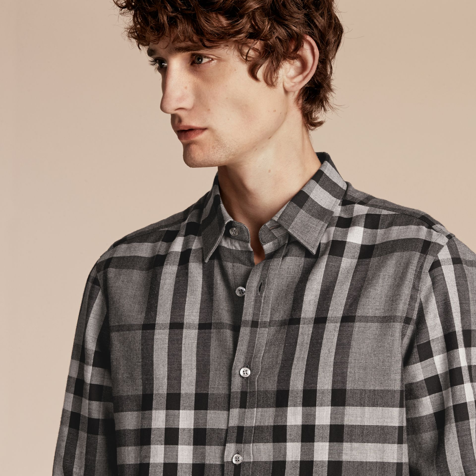 Mid grey melange Check Cotton Cashmere Flannel Shirt Mid Grey Melange - gallery image 5