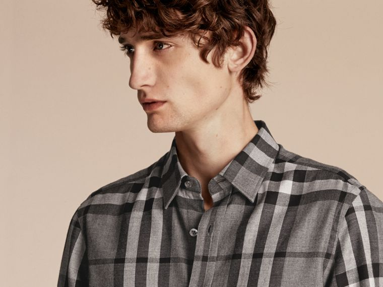 Check Cotton Cashmere Flannel Shirt in Mid Grey Melange - cell image 4