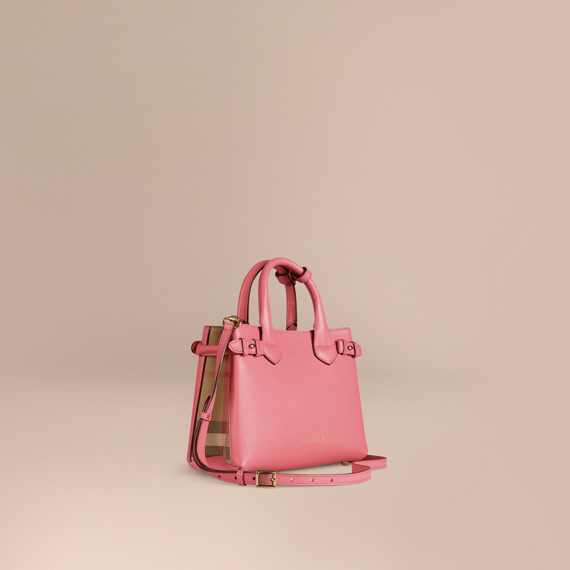 Rose mauve Petit sac The Banner en cuir et coton House check Rose Mauve - photo de la galerie 1
