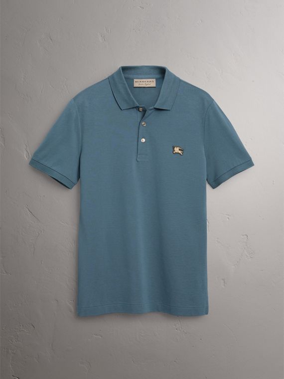 Cotton Piqué Polo Shirt in Pewter Blue - Men | Burberry - cell image 3