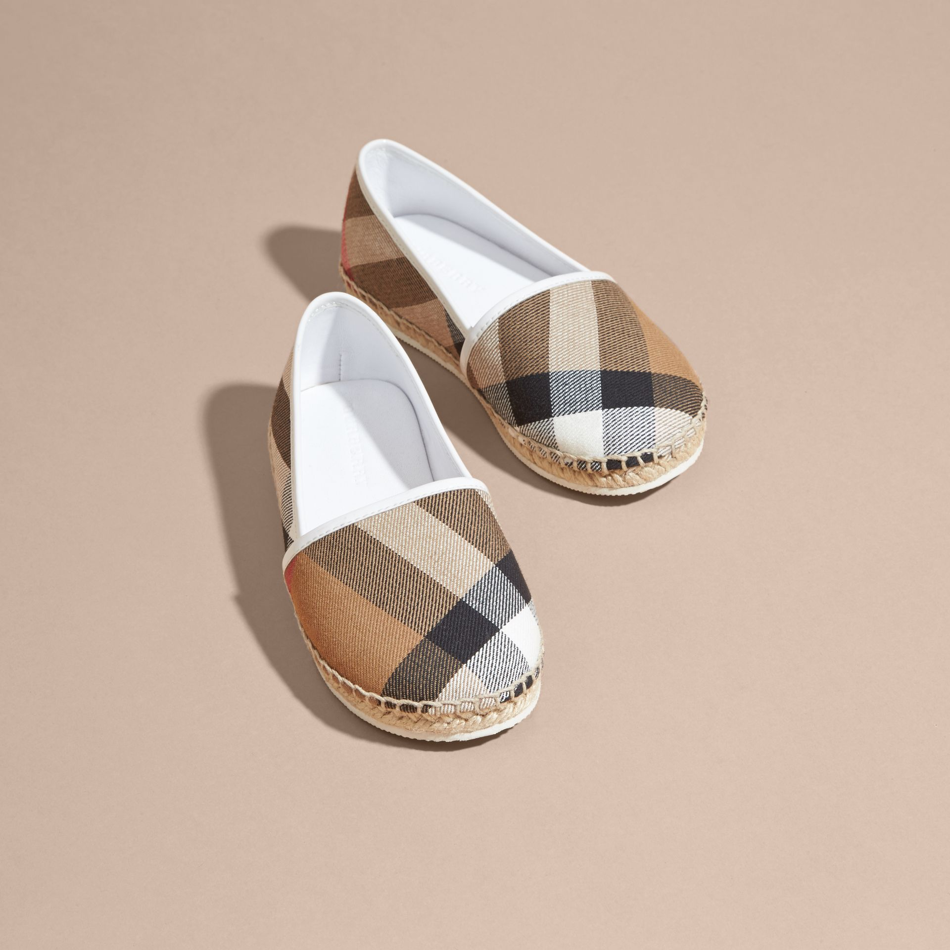 House Check Cotton Canvas Espadrilles in Optic White - Girl | Burberry - gallery image 3