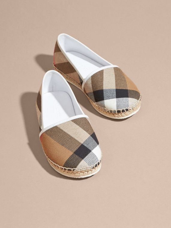 House Check Cotton Canvas Espadrilles in Optic White - Girl | Burberry - cell image 2