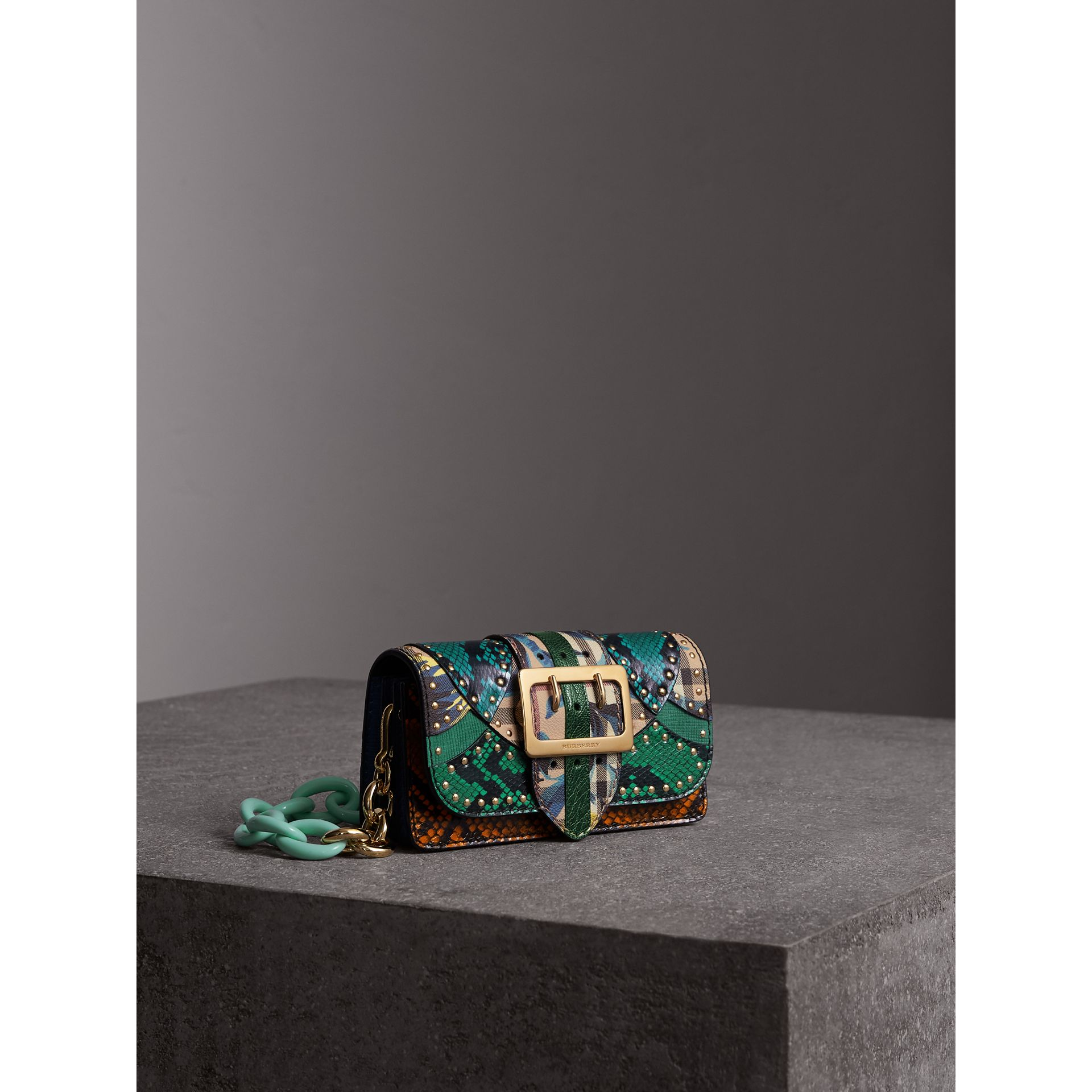 The Small Buckle Bag in Riveted Snakeskin and Floral Print in Turquoise - Women | Burberry - gallery image 6