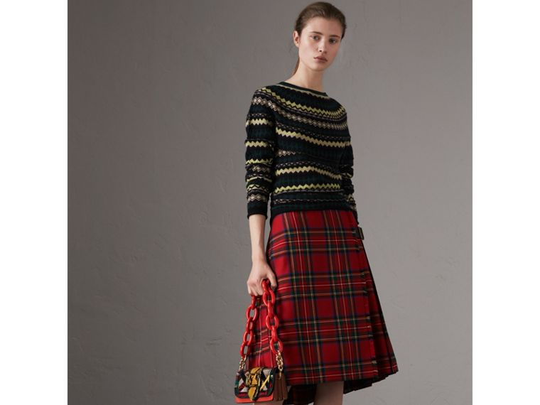 Fair Isle Wool Sweater in Olive Green - Women | Burberry - cell image 4