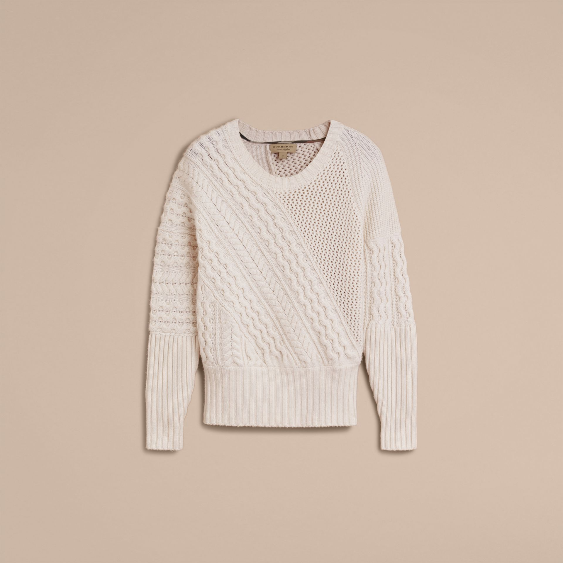 Cable and Rib Knit Panel Wool Cashmere Sweater in Natural White - Women | Burberry - gallery image 4