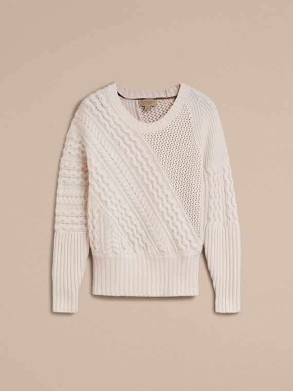 Cable and Rib Knit Panel Wool Cashmere Sweater in Natural White - Women | Burberry - cell image 3