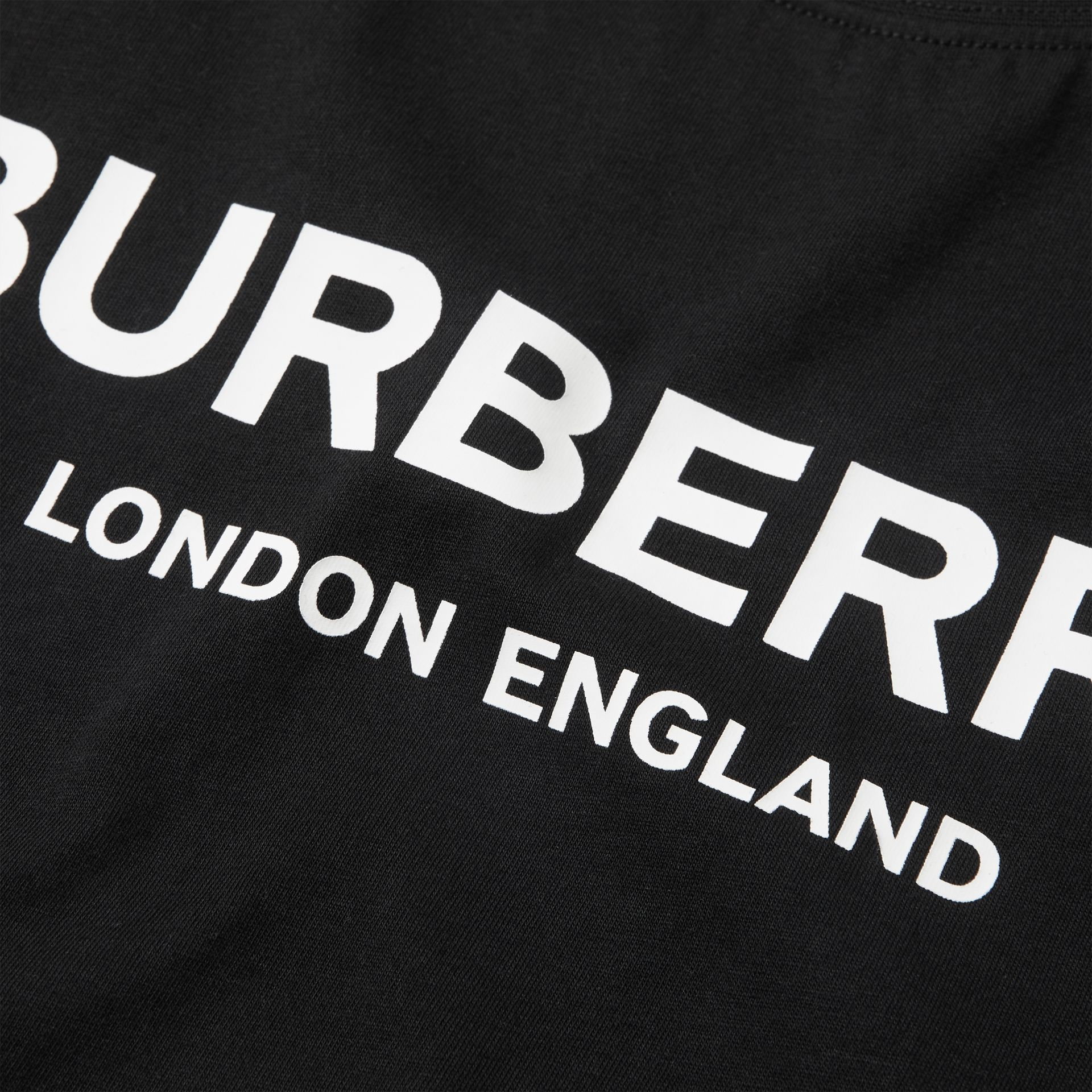 Logo Print Cotton T-shirt in Black | Burberry Australia - gallery image 1