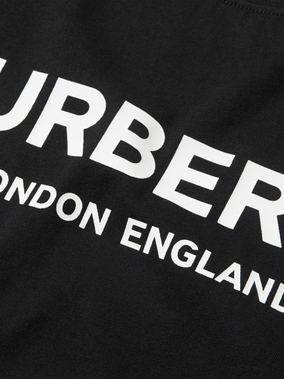 Logo Print Cotton T-shirt in Black | Burberry Australia - cell image 1