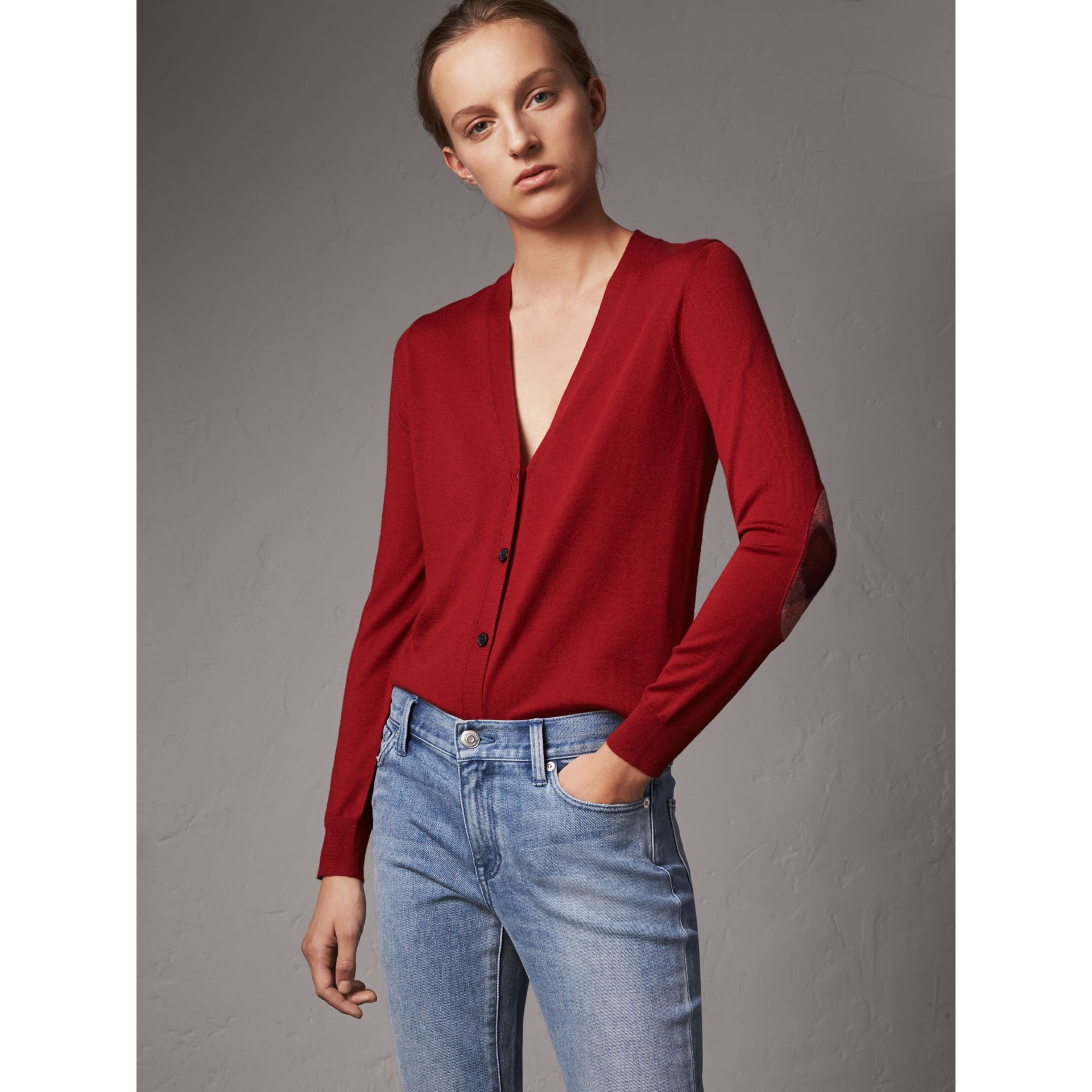Check Detail Merino Wool Cardigan in Parade Red - Women | Burberry - gallery image 1