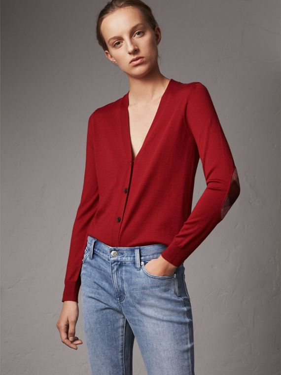 Check Detail Merino Wool Cardigan in Parade Red