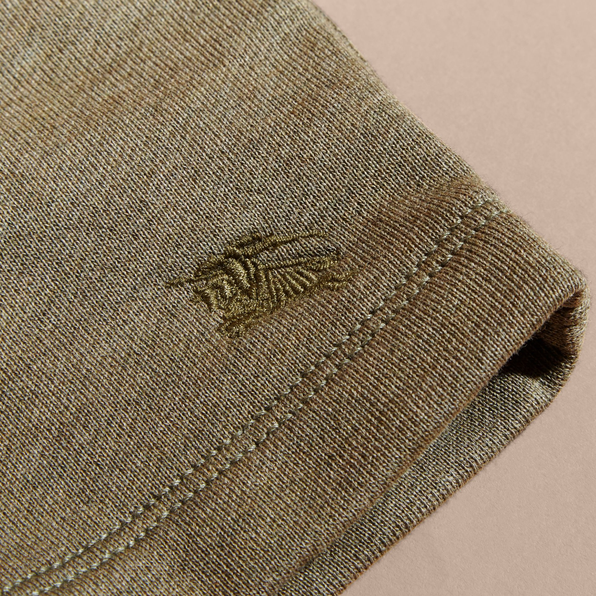 Cotton Jersey Drawcord Shorts in Khaki Green Melange | Burberry - gallery image 2