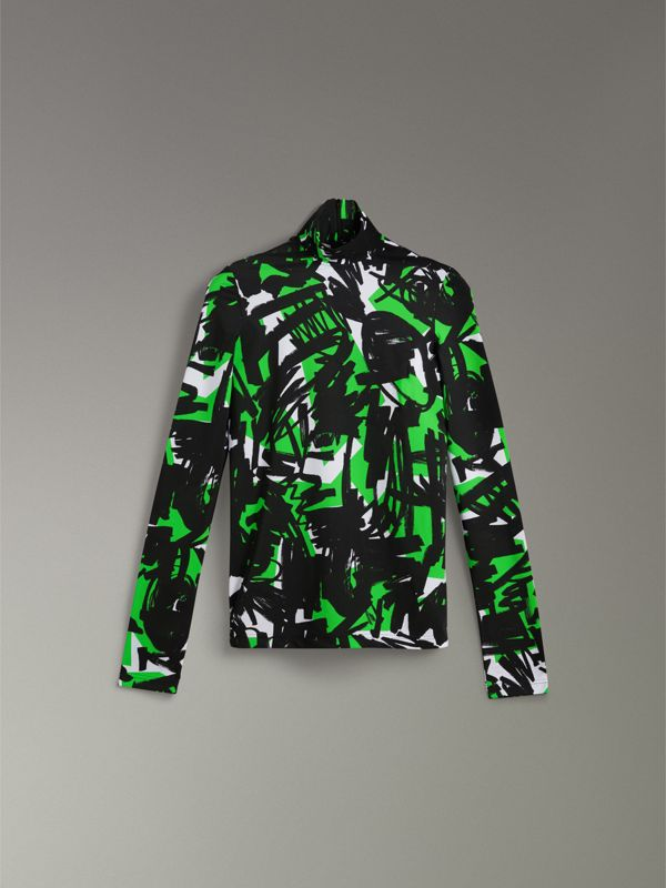 Graffiti Print Stretch Jersey Top in Neon Green - Women | Burberry United Kingdom - cell image 3