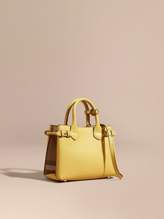 The Small Banner in Leather and House Check in Citrus Yellow - Women | Burberry