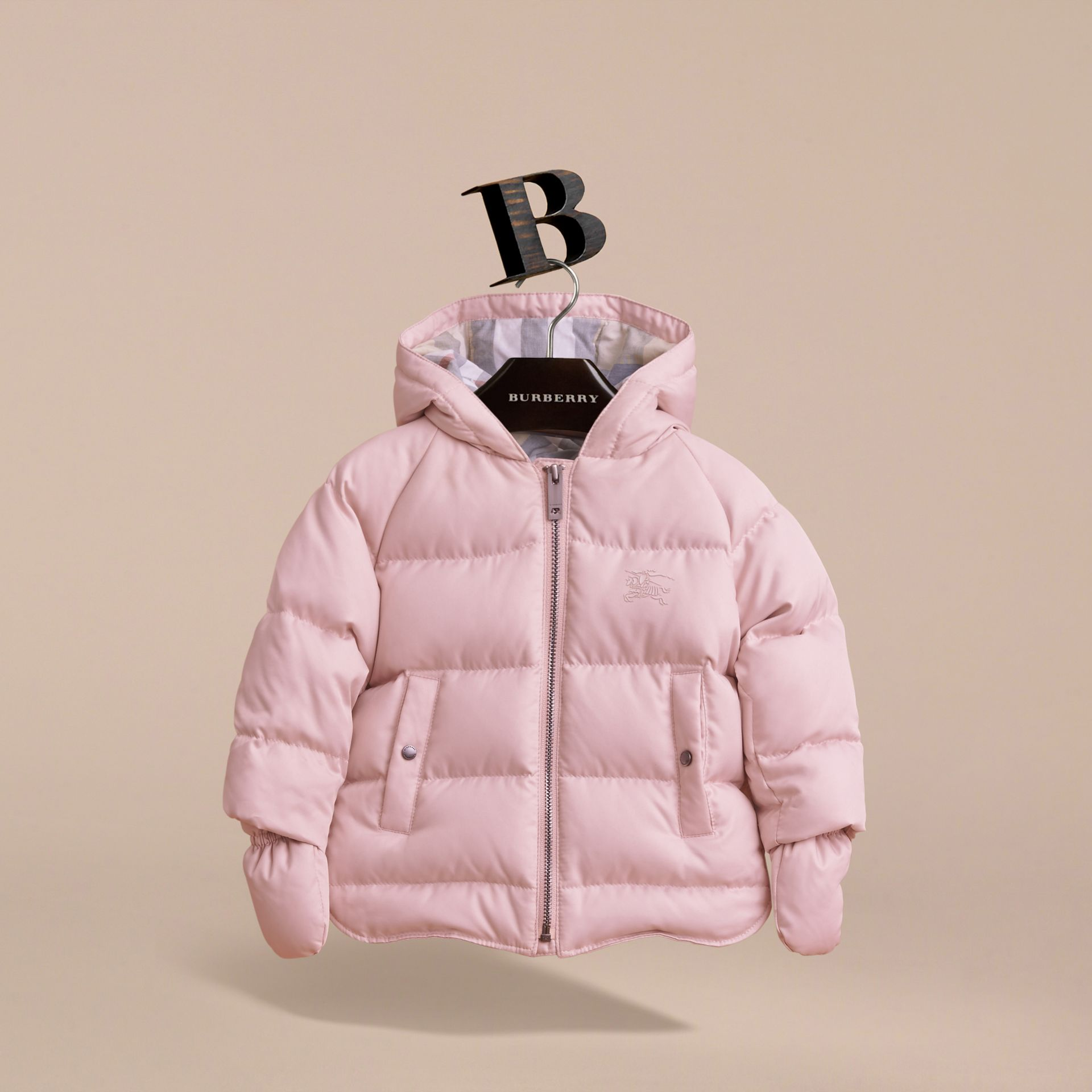 Hooded Down-filled Puffer Jacket with Mittens in Powder Pink | Burberry - gallery image 3