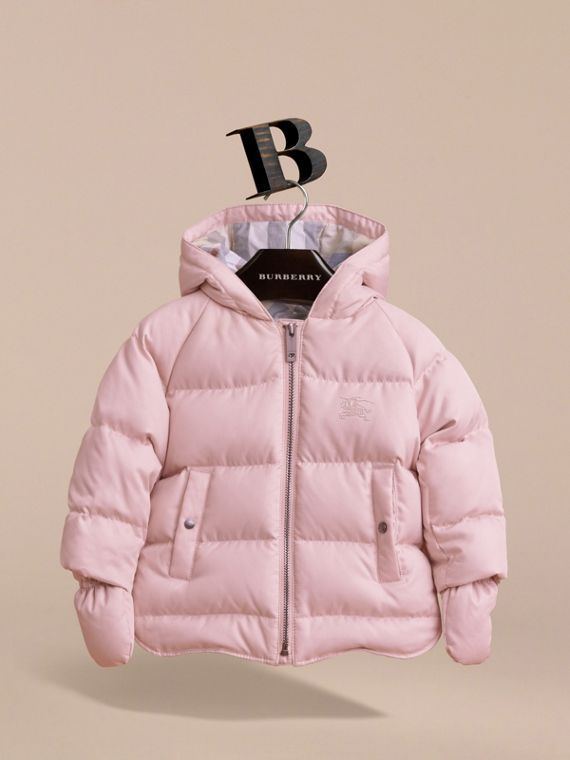 Hooded Down-filled Puffer Jacket with Mittens in Powder Pink | Burberry Canada - cell image 2