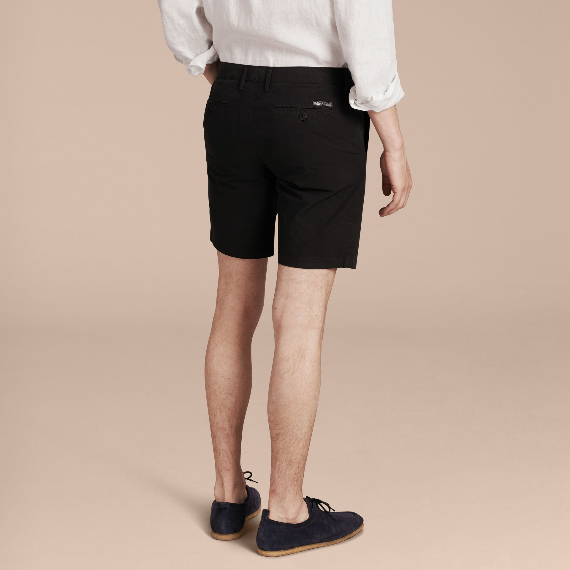 Cotton Poplin Chino Shorts in Black - Men | Burberry - gallery image 3