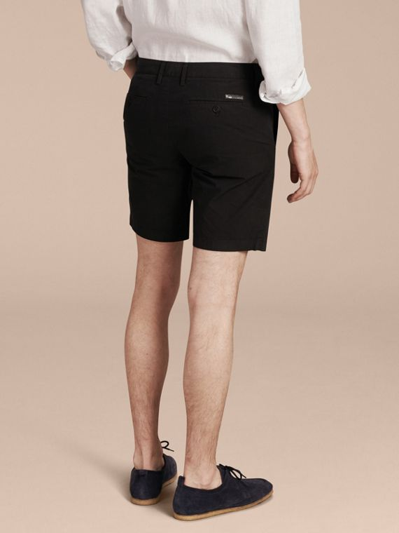 Cotton Poplin Chino Shorts in Black - Men | Burberry - cell image 2