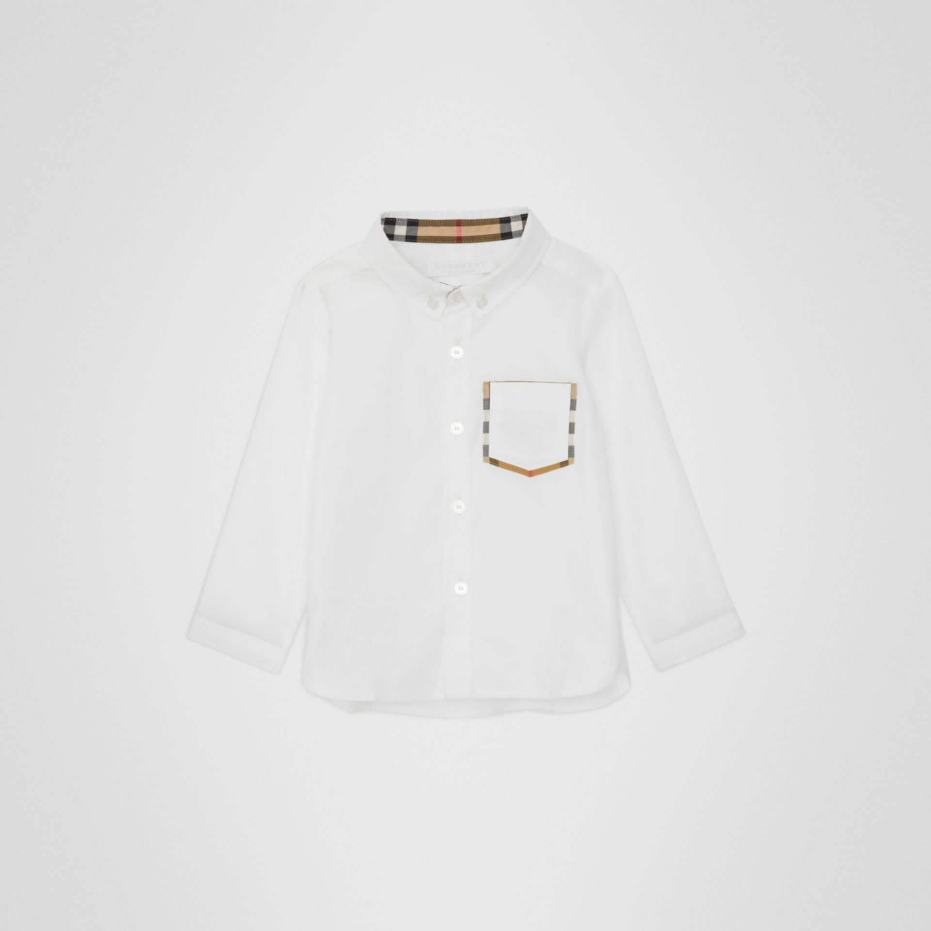 Check Detail Cotton Oxford Shirt in White - Children | Burberry - gallery image 0