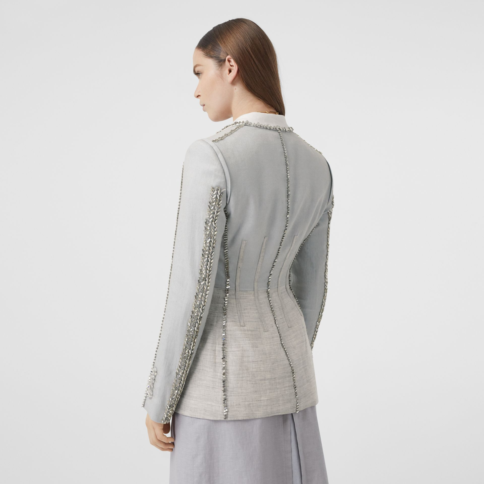 Crystal Embroidered Technical Linen Blazer in Grey Melange - Women | Burberry - gallery image 2