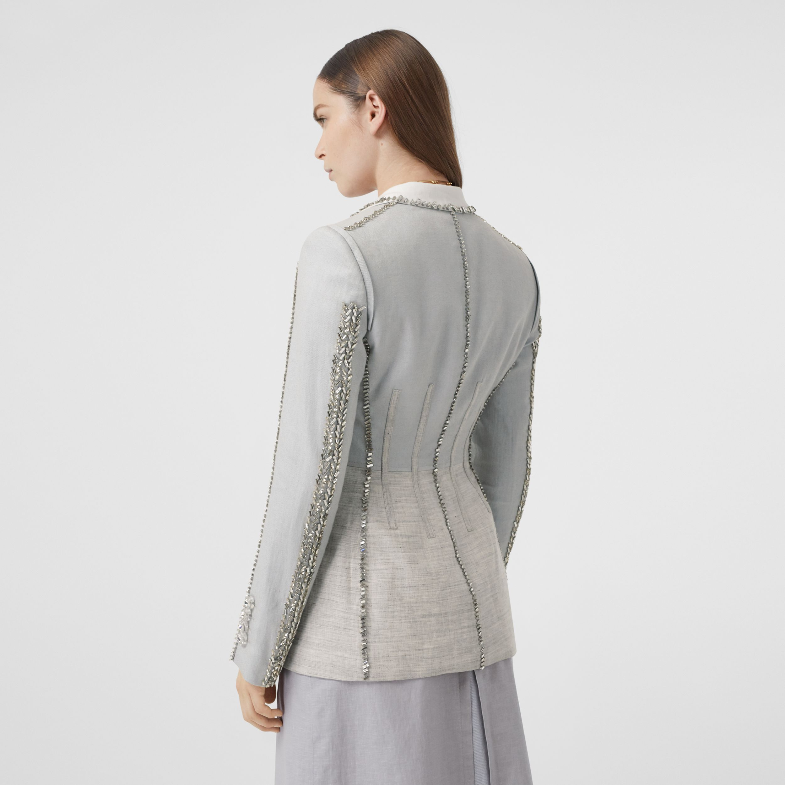 Crystal Embroidered Technical Linen Blazer in Grey Melange - Women | Burberry - 3