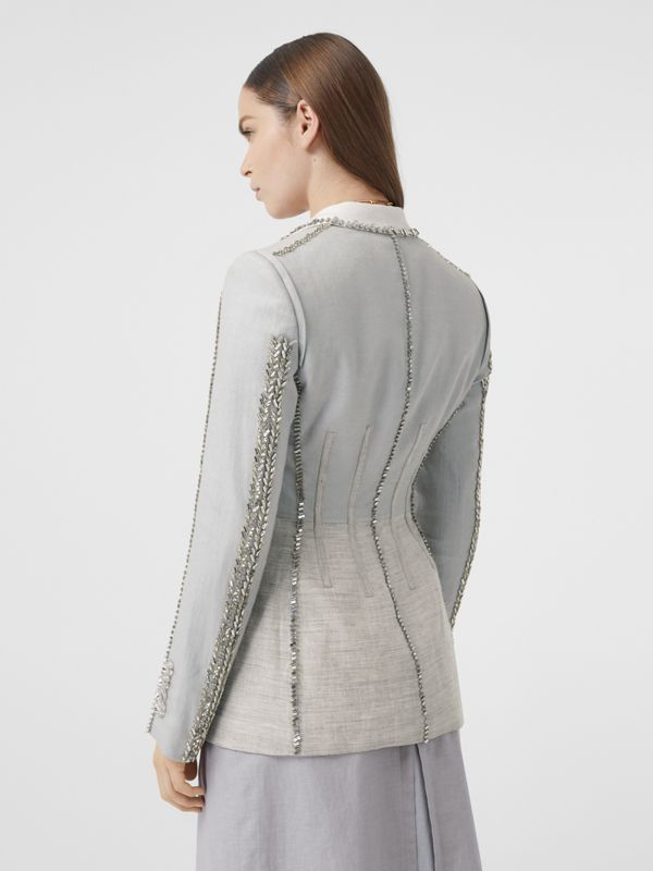 Crystal Embroidered Technical Linen Blazer in Grey Melange - Women | Burberry - cell image 2