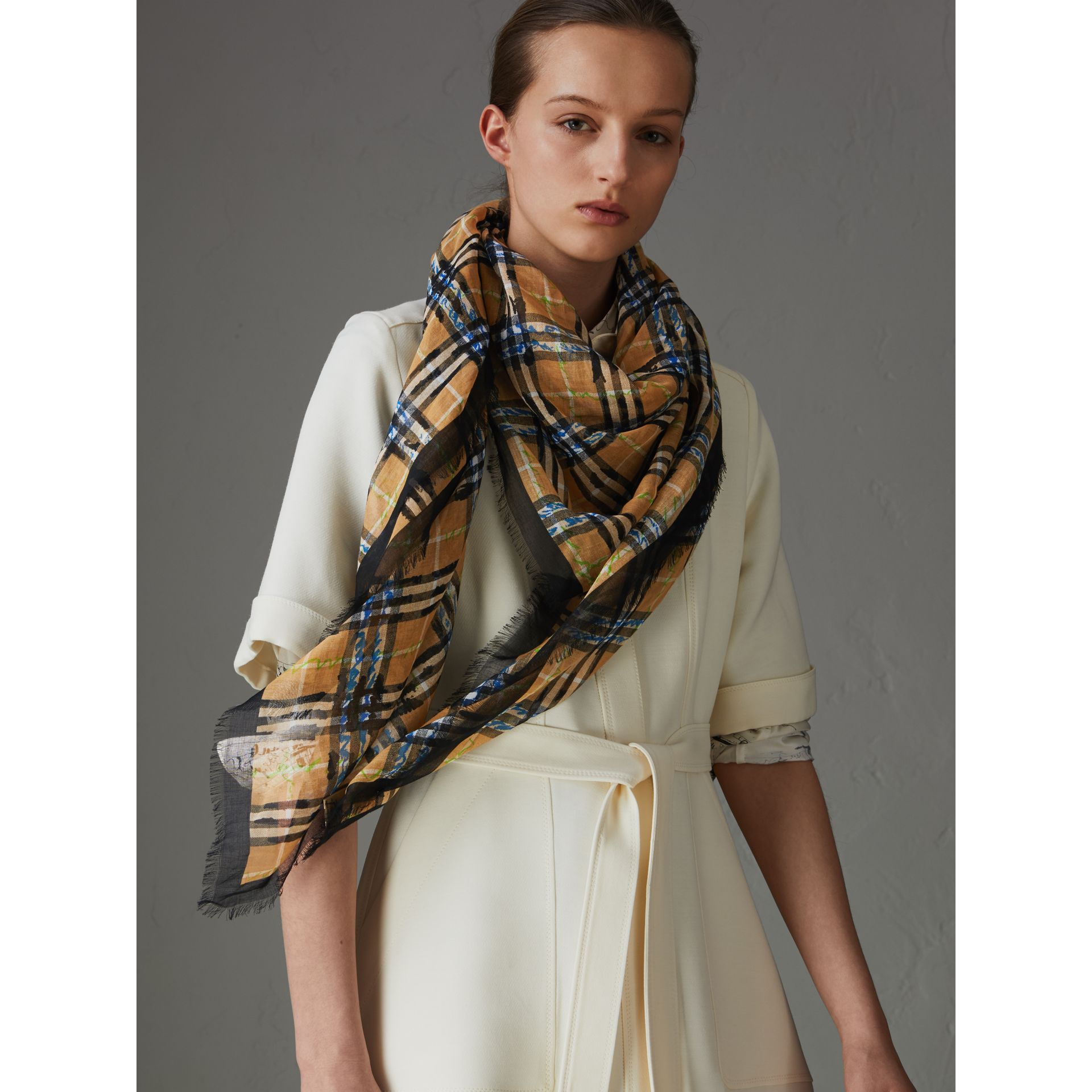 Scribble Check Cotton Large Square Scarf in Antique Yellow | Burberry - gallery image 4