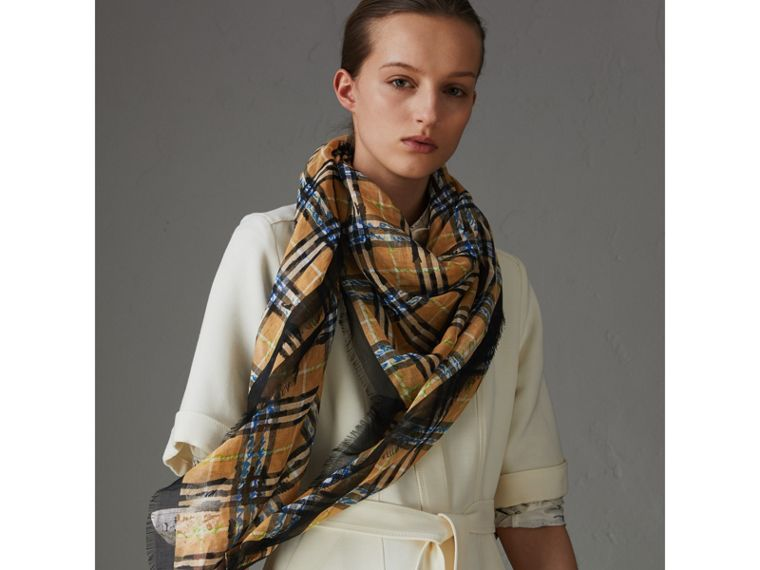 Scribble Check Cotton Large Square Scarf in Antique Yellow | Burberry - cell image 4