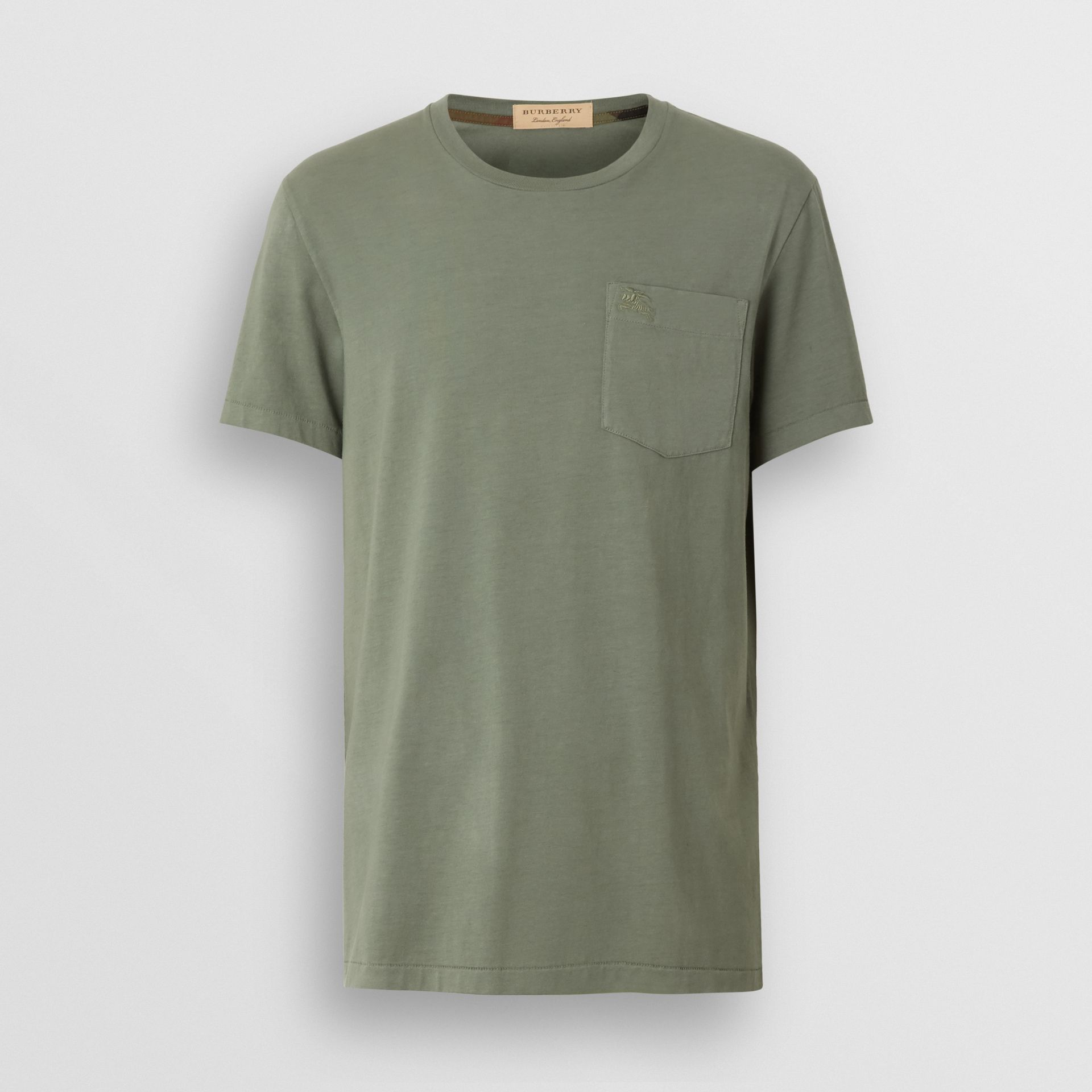 Cotton T-shirt in Clay Green - Men | Burberry - gallery image 3