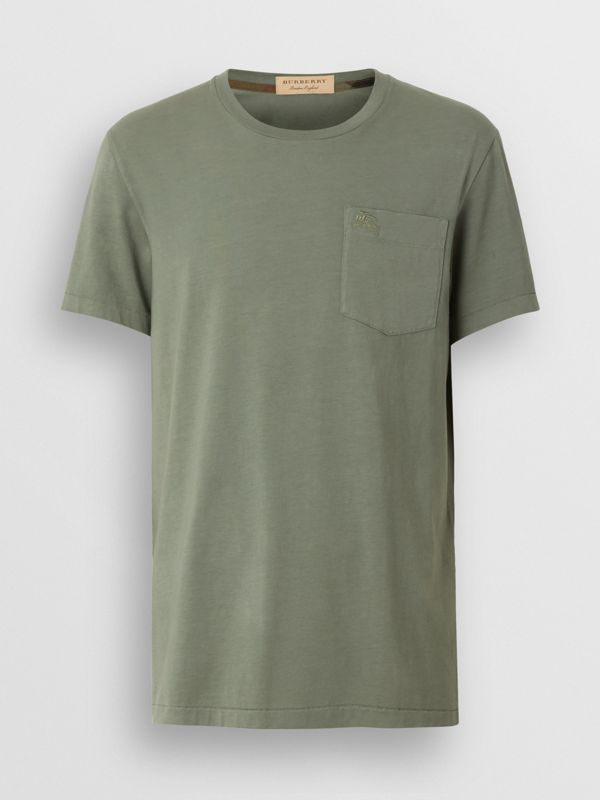 Cotton T-shirt in Clay Green - Men | Burberry - cell image 3