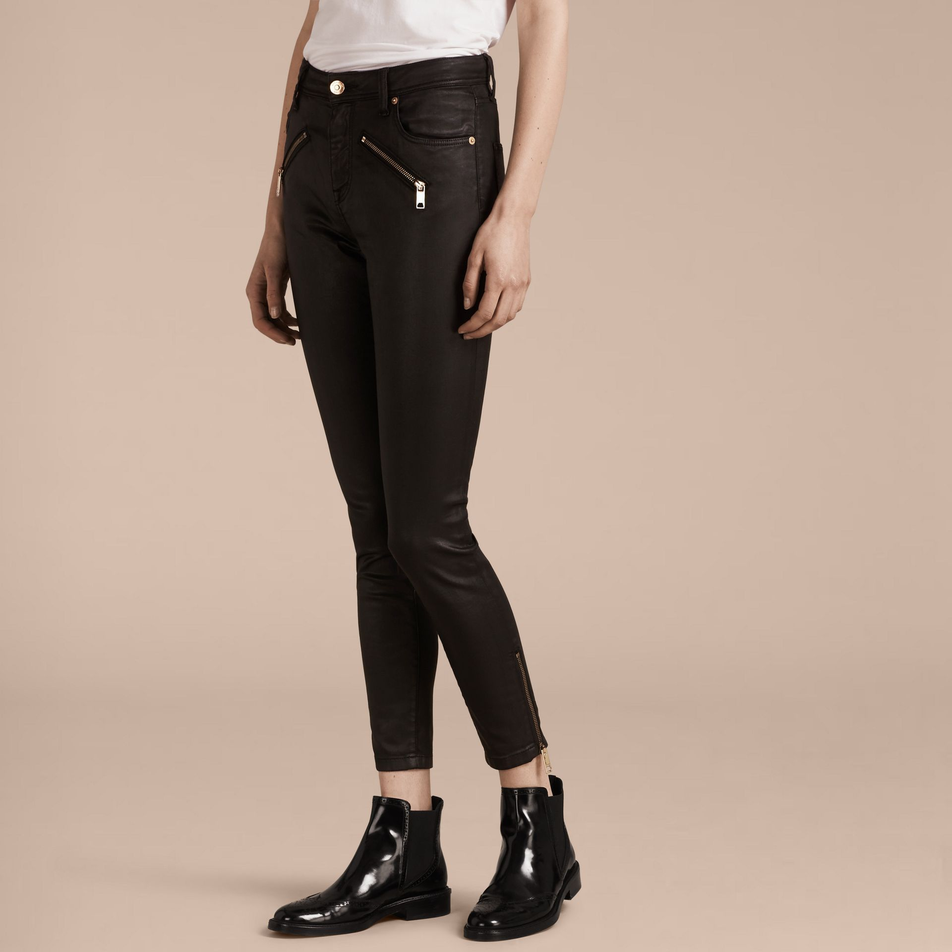 Black Skinny Fit High-rise Coated Stretch Denim Jeans - gallery image 7