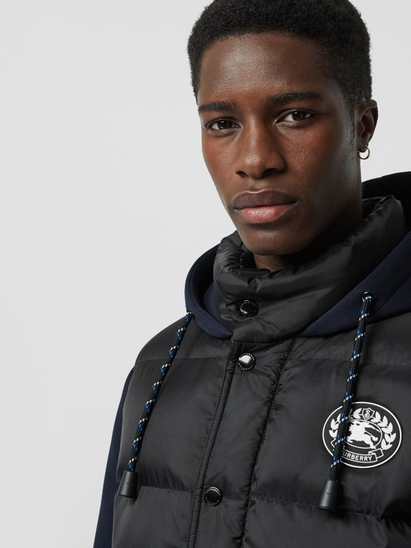 Neoprene Down-filled Hooded Jacket in Black - Men | Burberry Canada - cell image 3