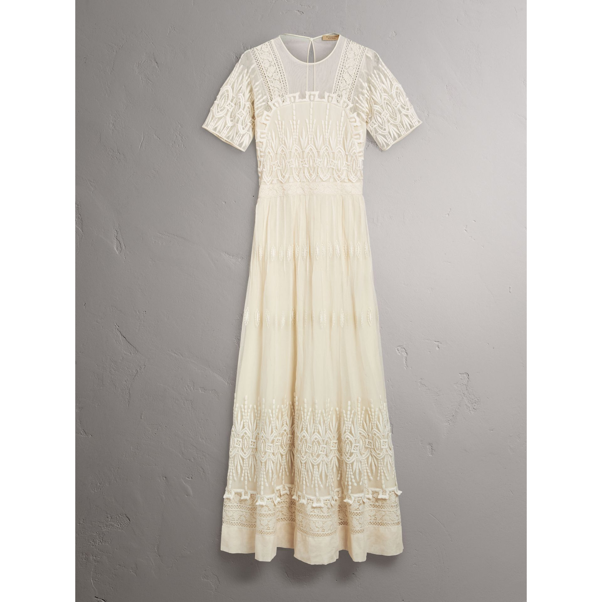Embroidered Tulle Dress in Natural White - Women | Burberry - gallery image 3