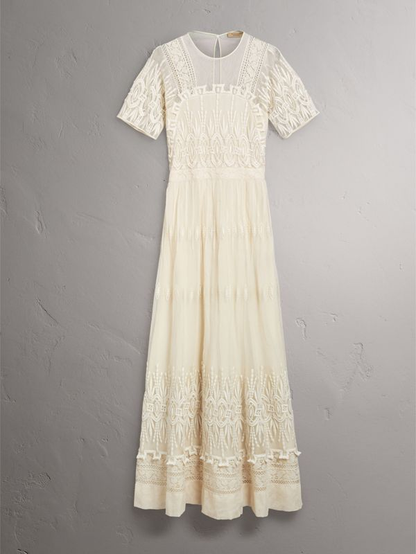 Embroidered Tulle Dress in Natural White - Women | Burberry United Kingdom - cell image 3