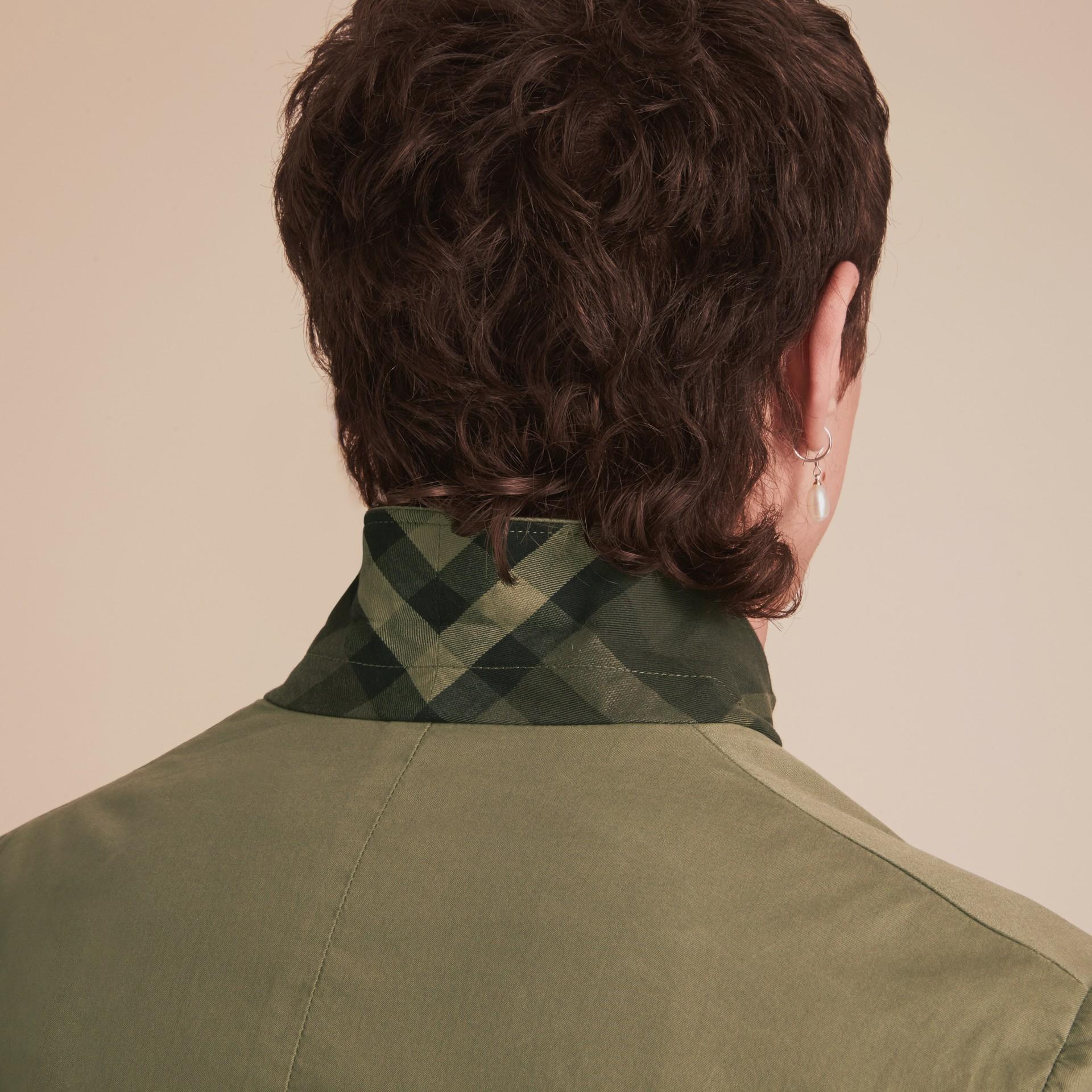 Slim Fit Stretch-cotton Blazer Khaki Green - gallery image 7