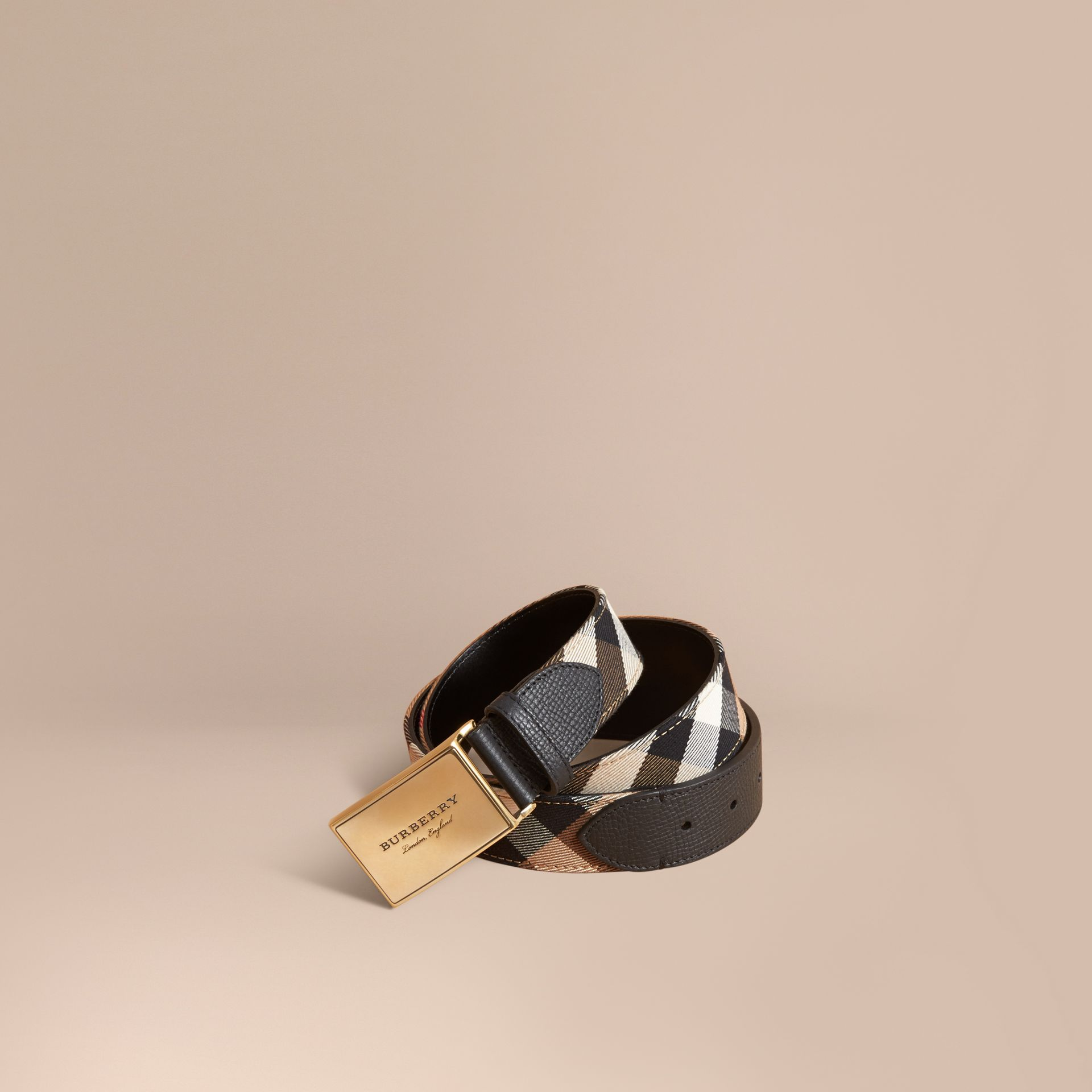 Plaque Buckle House Check and Leather Belt in Black - Men | Burberry - gallery image 1