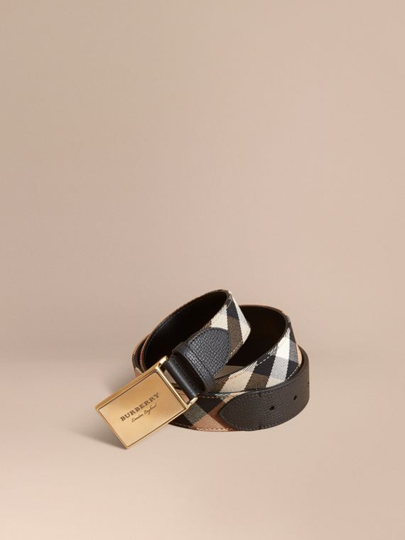 Plaque Buckle House Check and Leather Belt - Men | Burberry Australia
