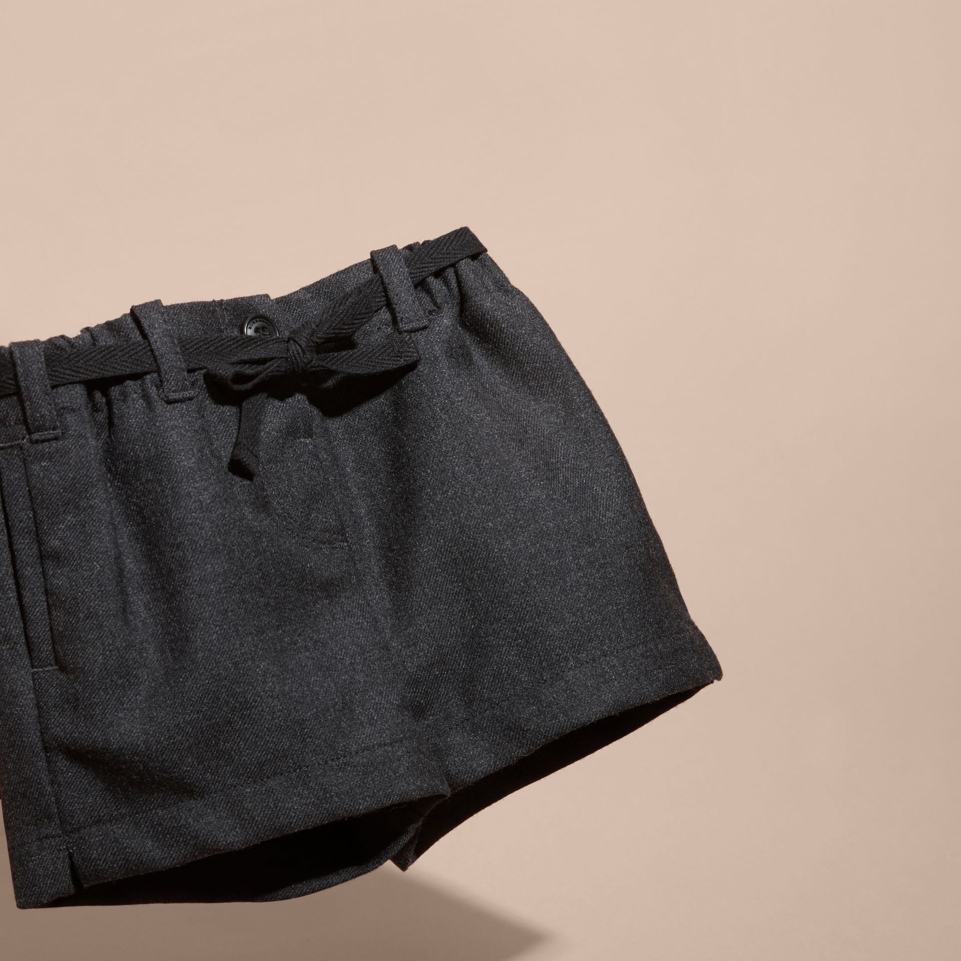 Charcoal melange Belted Wool Shorts - gallery image 3