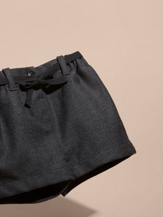 Charcoal melange Belted Wool Shorts - cell image 2