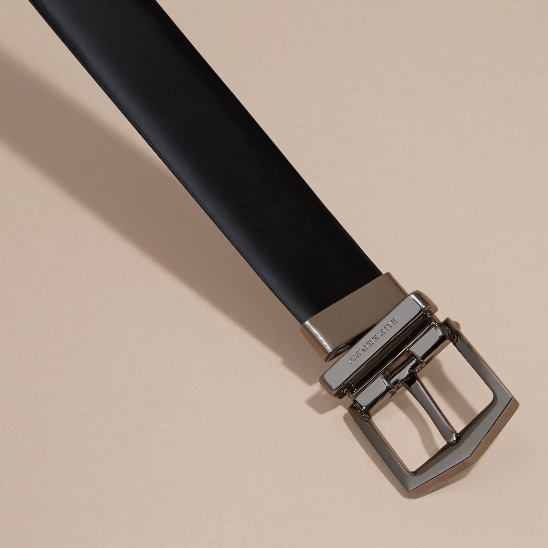 Reversible Bridle Leather Belt in Black/chocolate - Men | Burberry - gallery image 3